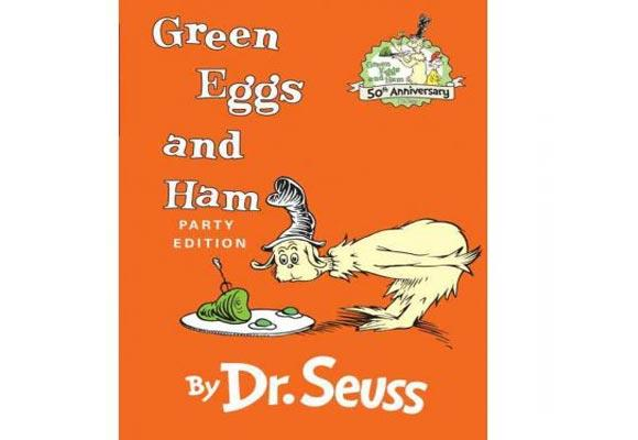 "Green Eggs and Ham By Dr Seuss  Sam-I-Am wants his grumpy friend to try the oddly coloured dish, but he will not try the green eggs and ham and the book follows Sam-I-Am as his follows his green-eggs-and-ham averse friend on trains, cars, up trees, into boxes and onto a boat to get him to try the dish. Despite declaring ""I do not like green eggs and ham"", the character does eventually eat them and actually likes them. Great to read to fussy eaters!"