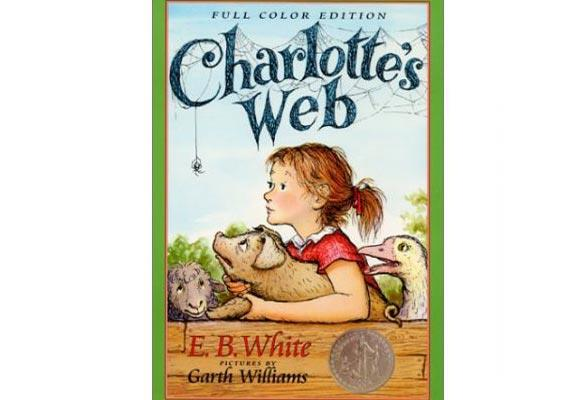 Charlotte's Web By EB White  Children (and adults) of all ages love this bittersweet tale of friendship, growing up and sacrifice. Wilbur the tender-hearted sometimes shy pig makes friends with a friendly and creative spider, named Charlotte. Charlotte is determined to save Wilbur from the chopping block, so puts her web-spinning skills to good use.