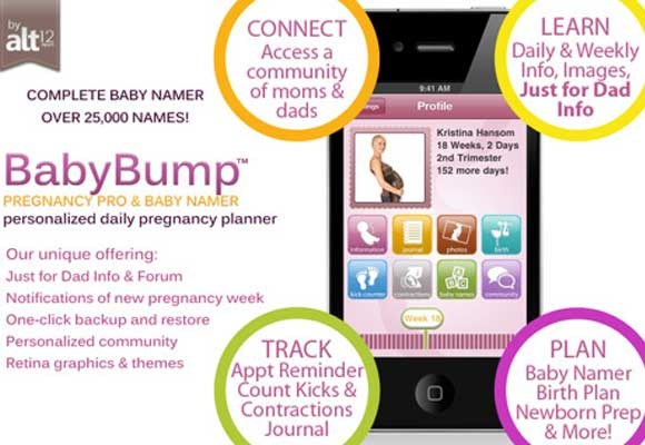 "[BabyBump](https://alt12.com/|target=""_blank"") is a pregnancy app that keeps soon-to-be parents informed about their pregnancy progress and enables tracking and sharing the experience with family and friends around the world."